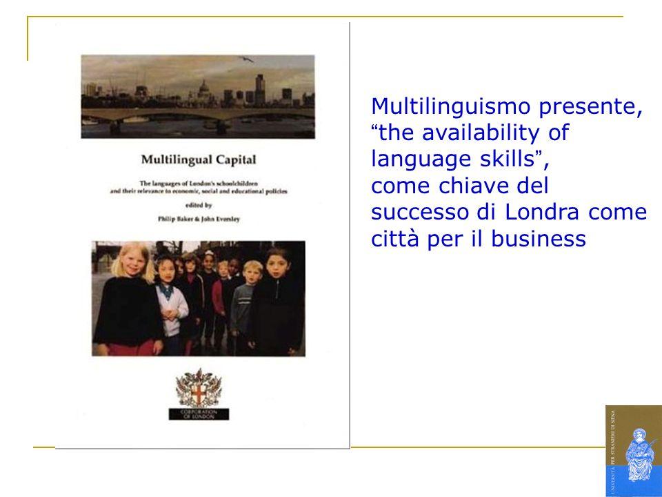 Multilinguismo presente,the availability of language skills, come chiave del successo di Londra come città per il business
