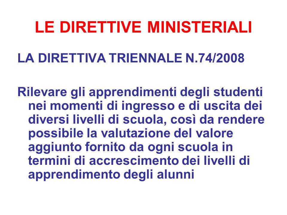 LE DIRETTIVE MINISTERIALI LA DIRETTIVA TRIENNALE N.74/2008 Rilevare gli apprendimenti degli studenti nei momenti di ingresso e di uscita dei diversi l