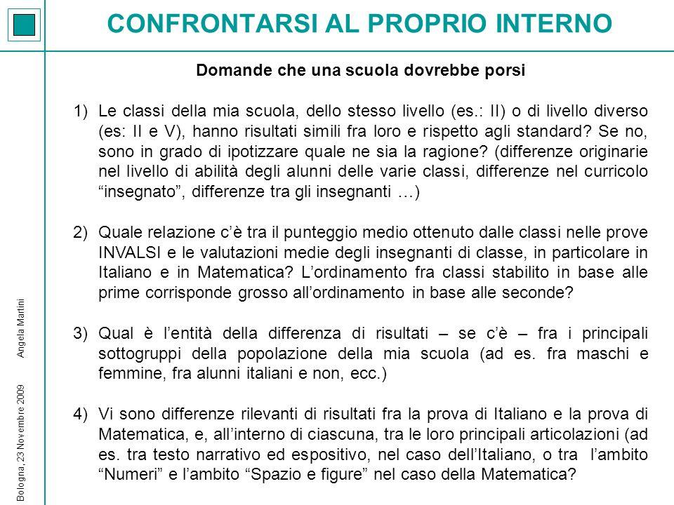 CONFRONTARSI AL PROPRIO INTERNO Bologna, 23 Novembre 2009 Angela Martini Domande che una scuola dovrebbe porsi 1)Le classi della mia scuola, dello ste
