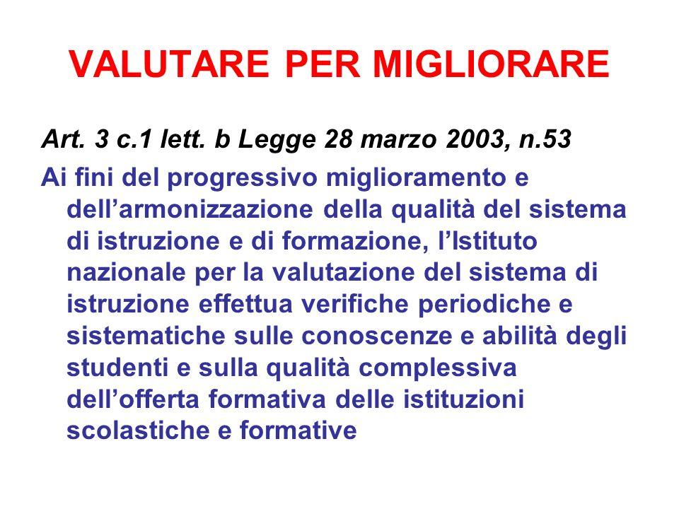 VALUTARE PER MIGLIORARE Art. 3 c.1 lett. b Legge 28 marzo 2003, n.53 Ai fini del progressivo miglioramento e dellarmonizzazione della qualità del sist
