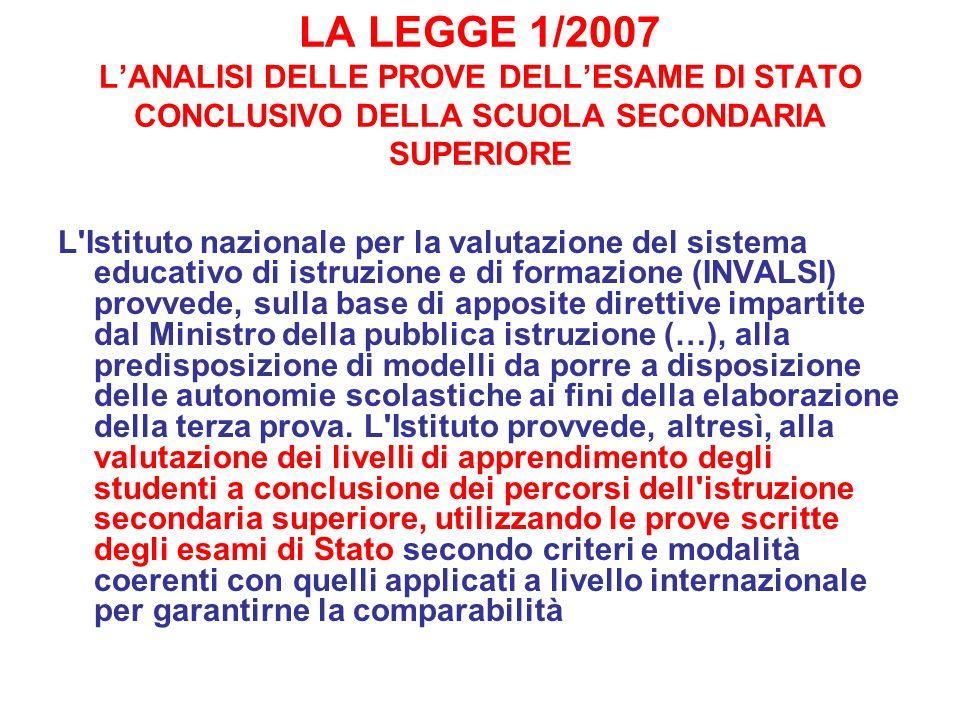 LA LEGGE 1/2007 LANALISI DELLE PROVE DELLESAME DI STATO CONCLUSIVO DELLA SCUOLA SECONDARIA SUPERIORE L'Istituto nazionale per la valutazione del siste