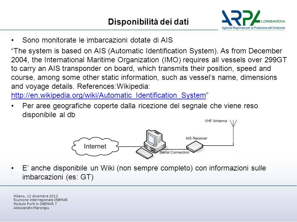 Milano, 12 dicembre 2012 Riunione interregionale INEMAR Modulo Porti in INEMAR 7 Alessandro Marongiu Disponibilità dei dati Sono monitorate le imbarcazioni dotate di AIS The system is based on AIS (Automatic Identification System).
