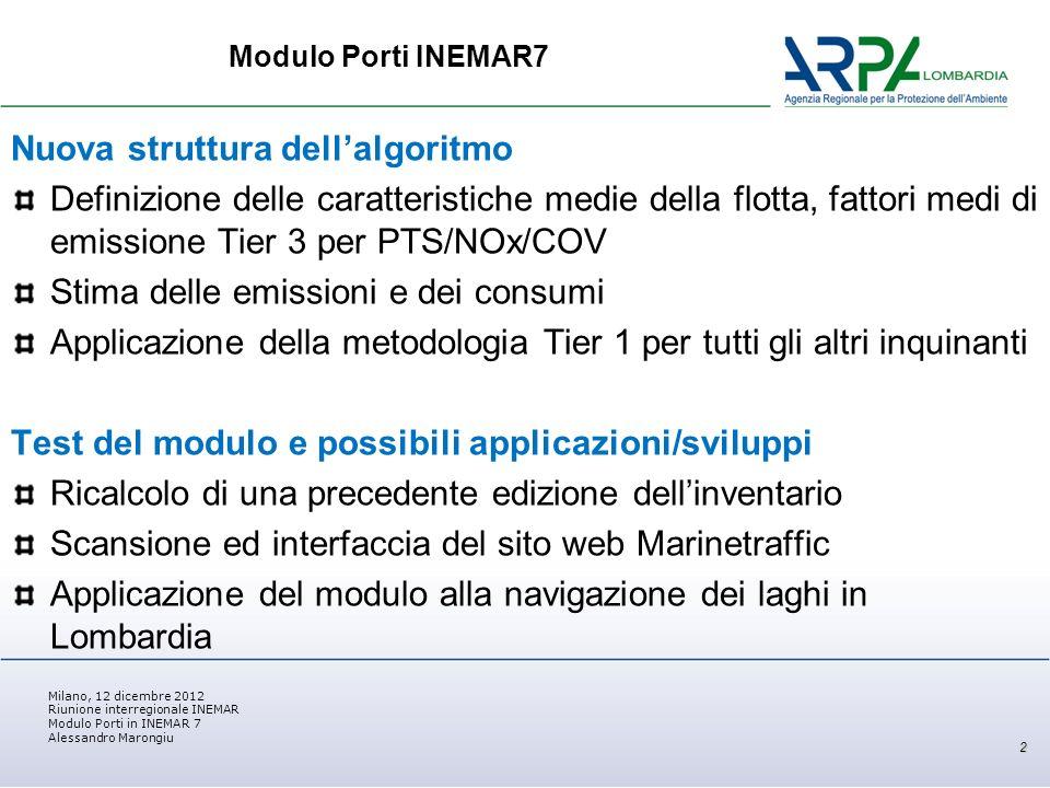 Milano, 12 dicembre 2012 Riunione interregionale INEMAR Modulo Porti in INEMAR 7 Alessandro Marongiu Struttura dellalgoritmo in INEMAR 7 3 OUTPUT Parametri algoritmo INPUT Codifica