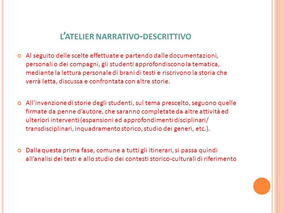 L ATELIER NARRATIVO - DESCRITTIVO Al seguito delle scelte effettuate e partendo dalle documentazioni, personali o dei compagni, gli studenti approfond