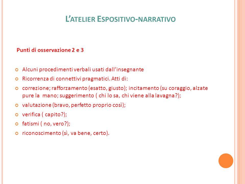 L ATELIER E SPOSITIVO - NARRATIVO Punti di osservazione 2 e 3 Alcuni procedimenti verbali usati dallinsegnante Ricorrenza di connettivi pragmatici. At