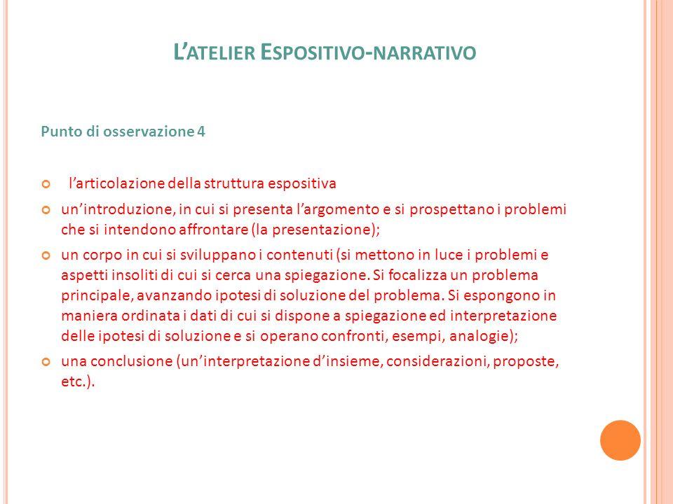 L ATELIER E SPOSITIVO - NARRATIVO Punto di osservazione 4 larticolazione della struttura espositiva unintroduzione, in cui si presenta largomento e si