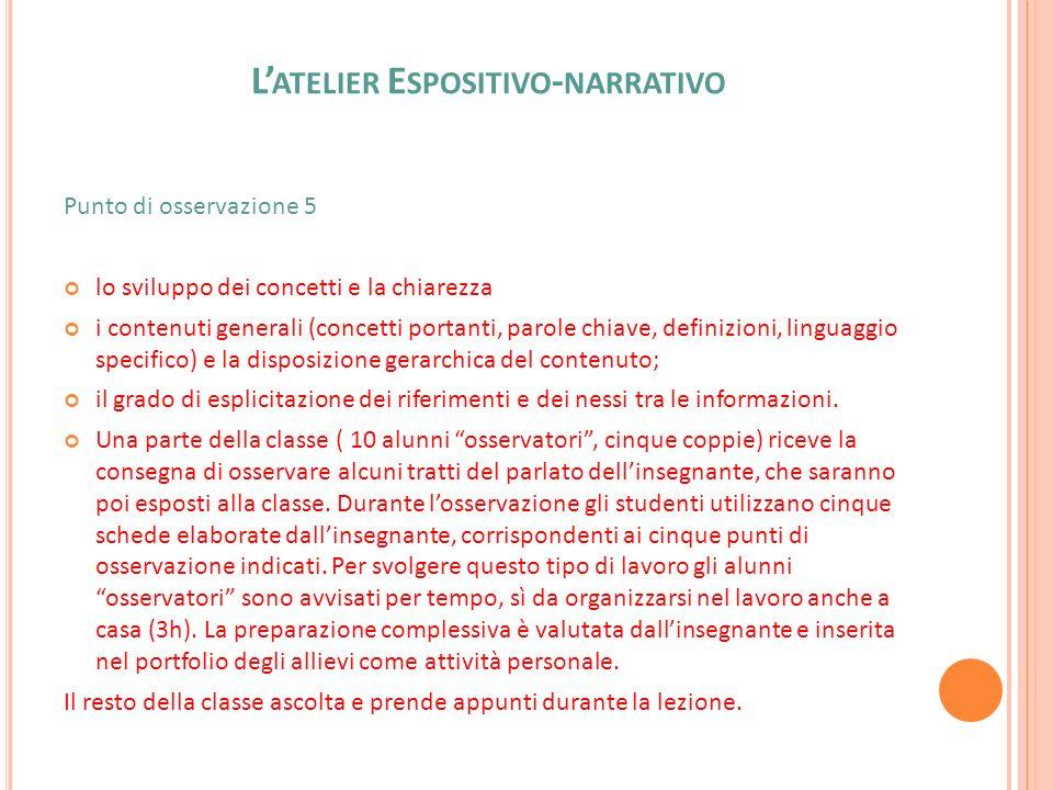 L ATELIER E SPOSITIVO - NARRATIVO Punto di osservazione 5 lo sviluppo dei concetti e la chiarezza i contenuti generali (concetti portanti, parole chia