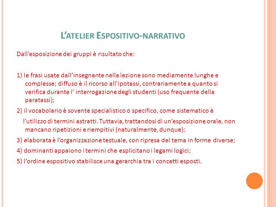 L ATELIER E SPOSITIVO - NARRATIVO Dallesposizione dei gruppi è risultato che: 1) le frasi usate dallinsegnante nella lezione sono mediamente lunghe e