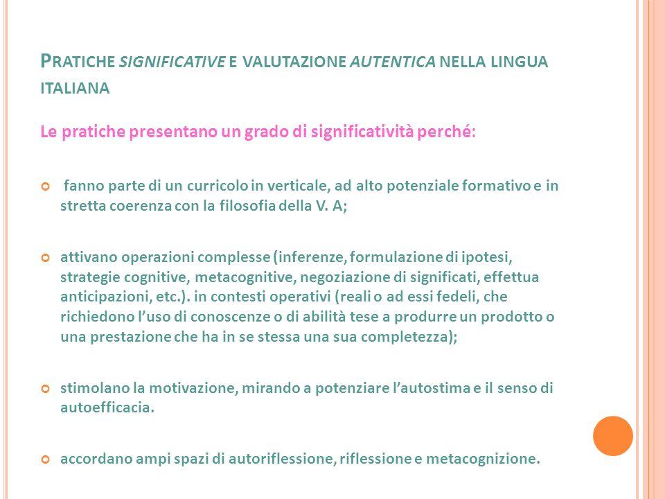 P RATICHE SIGNIFICATIVE E VALUTAZIONE AUTENTICA NELLA LINGUA ITALIANA Si tratta di pratiche che si riscontrano in percorsi curricolari (vedi schema curricolare).