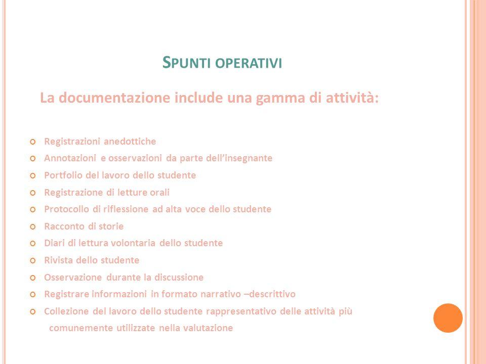 S PUNTI OPERATIVI La documentazione include una gamma di attività: Registrazioni anedottiche Annotazioni e osservazioni da parte dellinsegnante Portfo