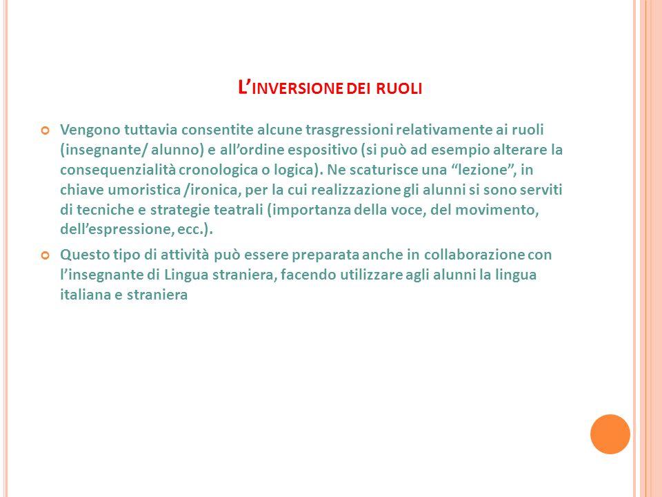 L INVERSIONE DEI RUOLI Vengono tuttavia consentite alcune trasgressioni relativamente ai ruoli (insegnante/ alunno) e allordine espositivo (si può ad