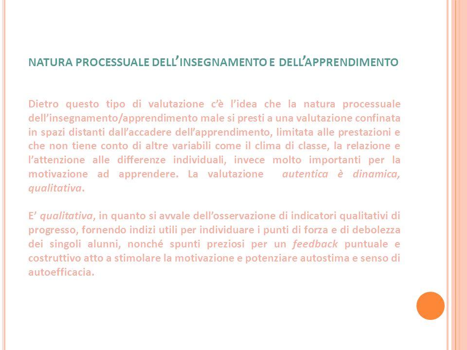 NATURA PROCESSUALE DELL INSEGNAMENTO E DELL APPRENDIMENTO Dietro questo tipo di valutazione cè lidea che la natura processuale dellinsegnamento/appren
