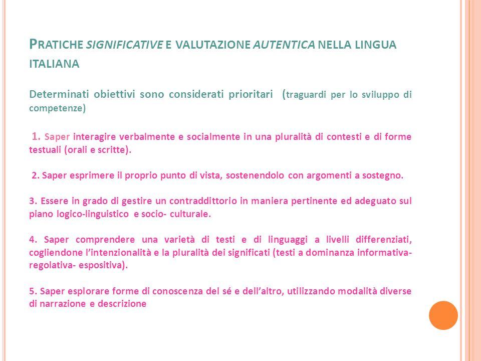 P RATICHE SIGNIFICATIVE E VALUTAZIONE AUTENTICA NELLA LINGUA ITALIANA Determinati obiettivi sono considerati prioritari ( traguardi per lo sviluppo di