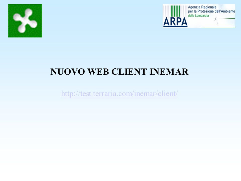 NUOVO WEB CLIENT INEMAR http://test.terraria.com/inemar/client/