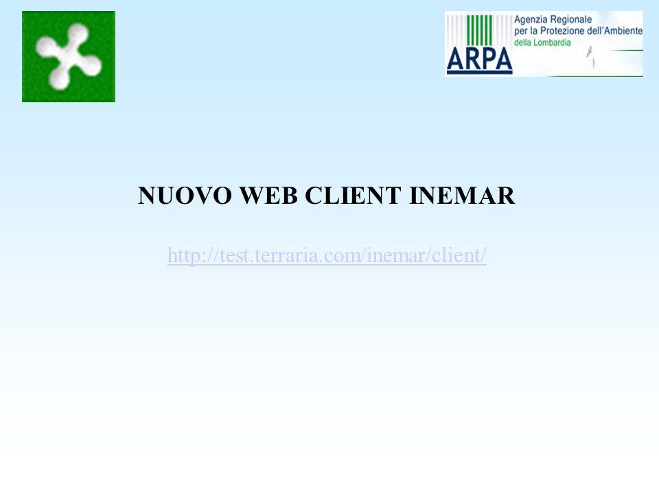 Nuovo Web Client Inemar : tabelle generali menu generali
