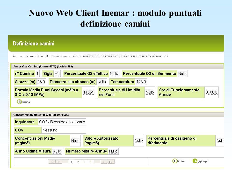 Nuovo Web Client Inemar : modulo puntuali definizione camini