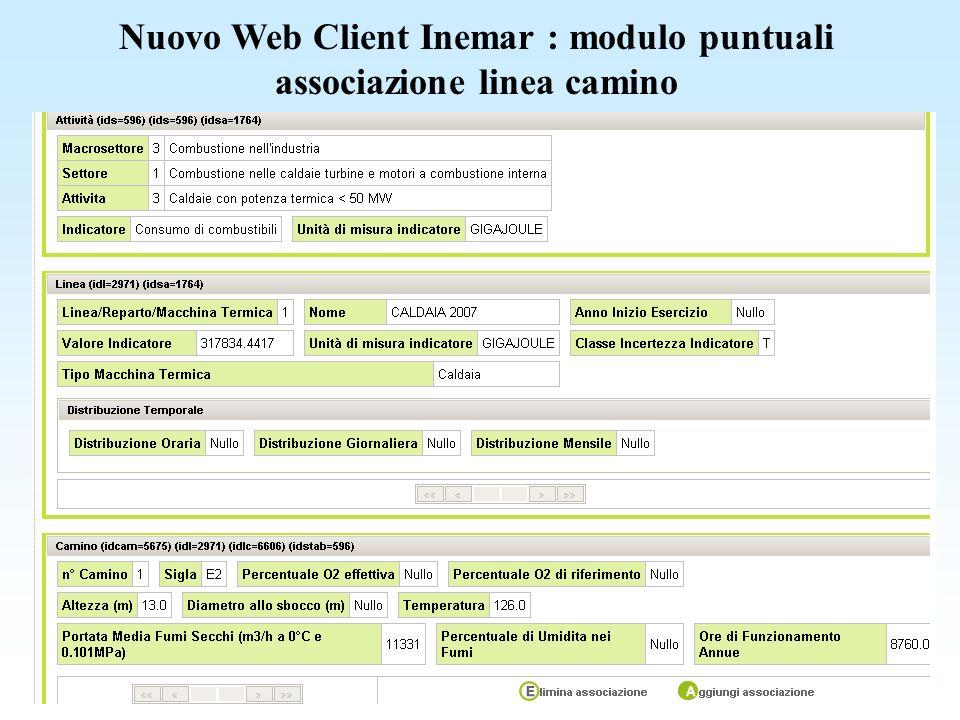 Nuovo Web Client Inemar : modulo puntuali associazione linea camino