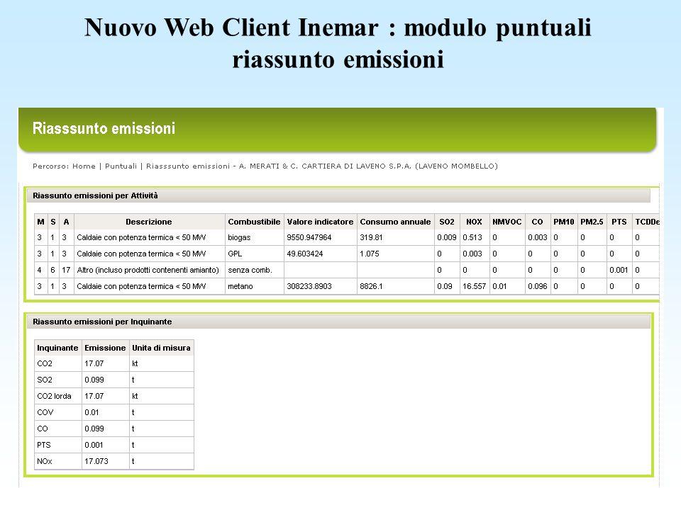 Nuovo Web Client Inemar : modulo puntuali riassunto emissioni