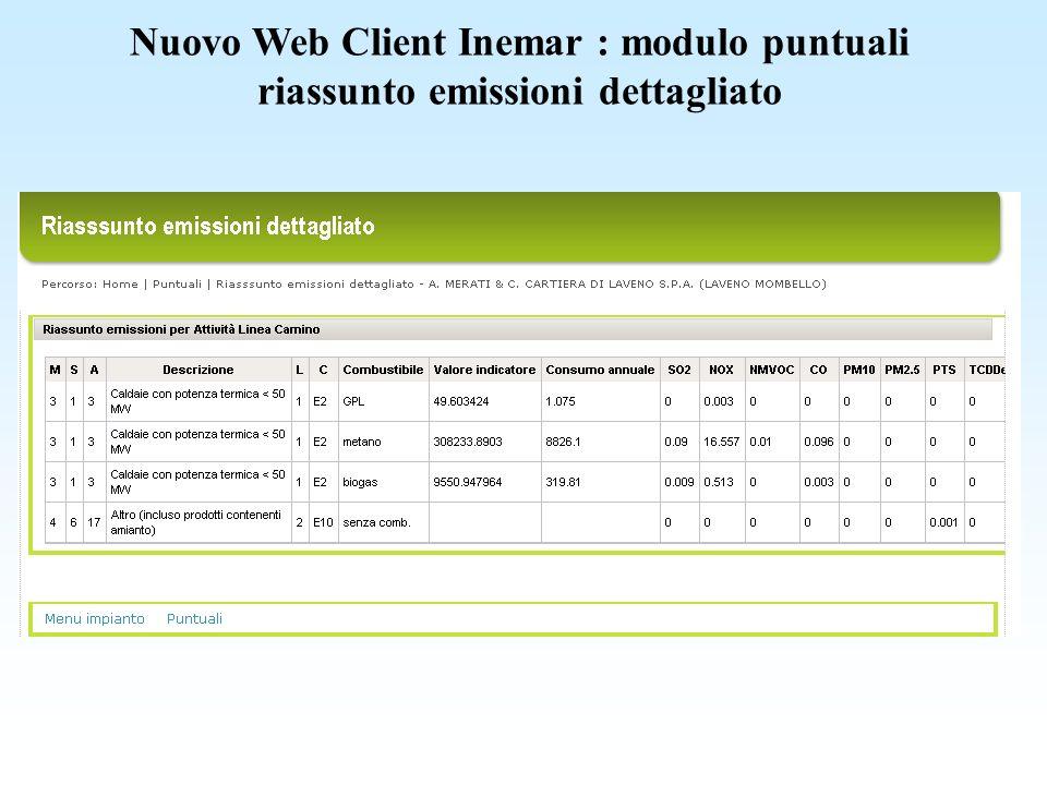 Nuovo Web Client Inemar : modulo puntuali riassunto emissioni dettagliato