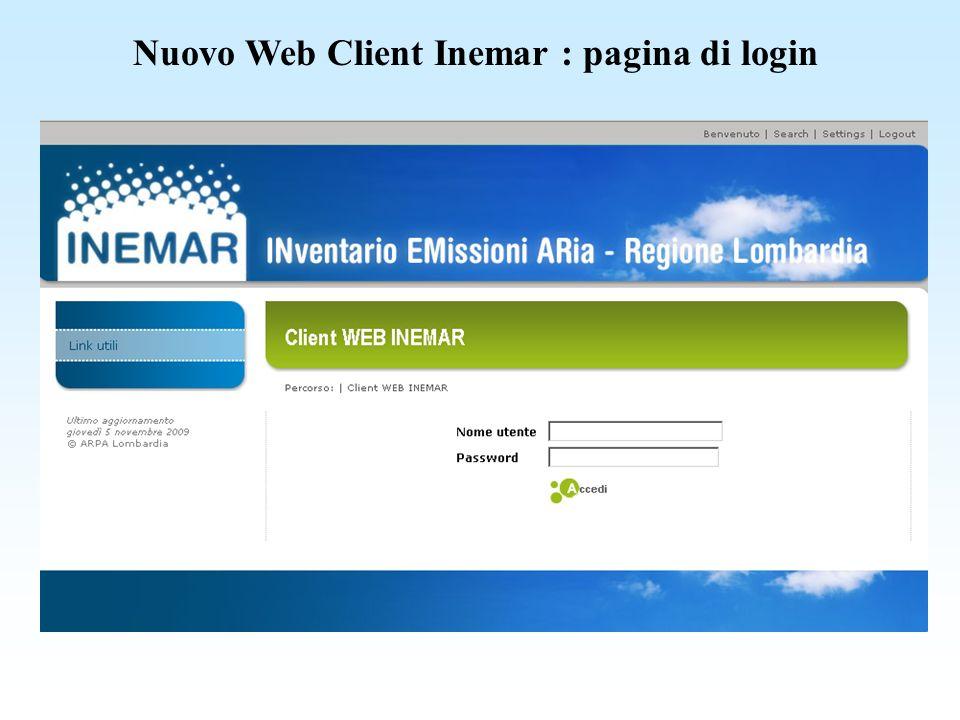 Nuovo Web Client Inemar : menu principale