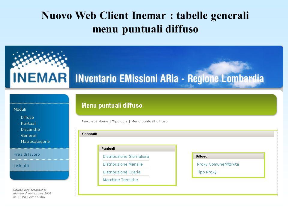 Nuovo Web Client Inemar : tabelle generali menu puntuali diffuso