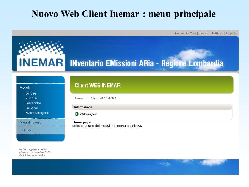 Nuovo Web Client Inemar : modulo puntuali inserimento emissioni