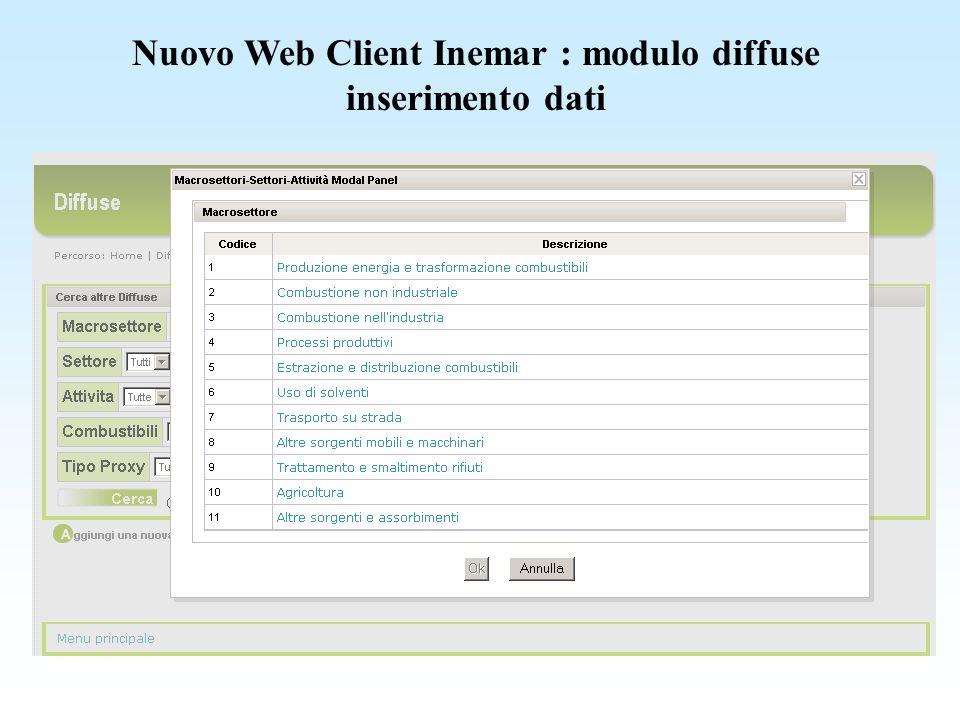 Nuovo Web Client Inemar : modulo diffuse esempio di record inserito