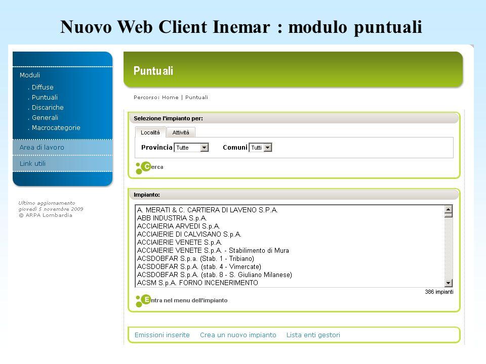 Nuovo Web Client Inemar : tabelle generali menu discariche, serbatoi e aeroporti