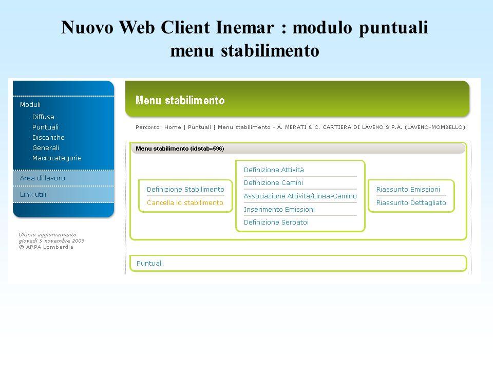 Nuovo Web Client Inemar : modulo puntuali menu stabilimento