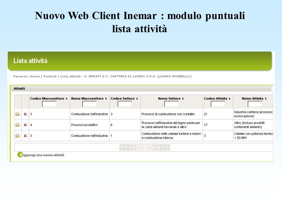 Nuovo Web Client Inemar : modulo discariche rifiuti smaltiti
