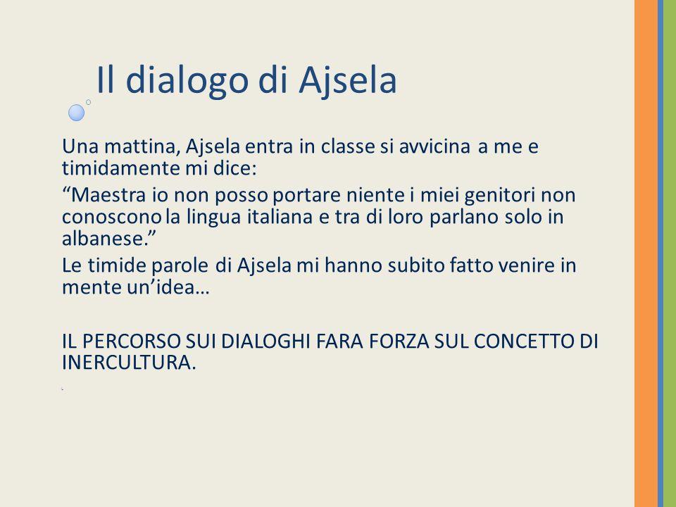 Il dialogo di Ajsela Una mattina, Ajsela entra in classe si avvicina a me e timidamente mi dice: Maestra io non posso portare niente i miei genitori non conoscono la lingua italiana e tra di loro parlano solo in albanese.