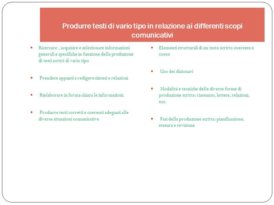Produrre testi di vario tipo in relazione ai differenti scopi comunicativi Ricercare, acquisire e selezionare informazioni generali e specifiche in fu