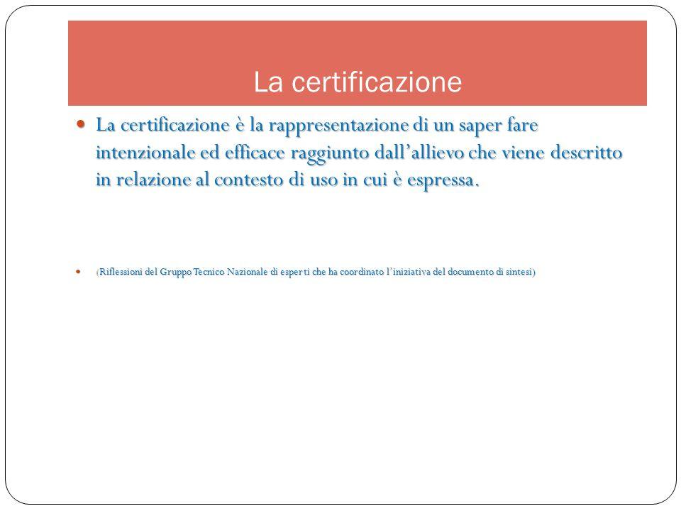 La certificazione La certificazione è la rappresentazione di un saper fare intenzionale ed efficace raggiunto dallallievo che viene descritto in relaz