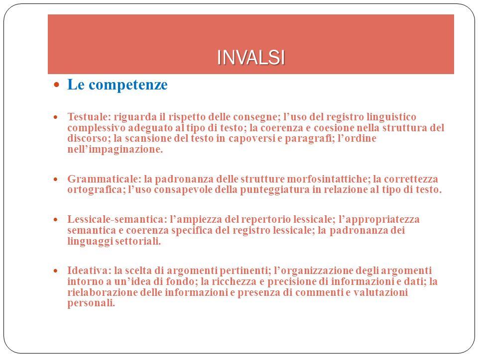 INVALSI Le competenze Testuale: riguarda il rispetto delle consegne; luso del registro linguistico complessivo adeguato al tipo di testo; la coerenza