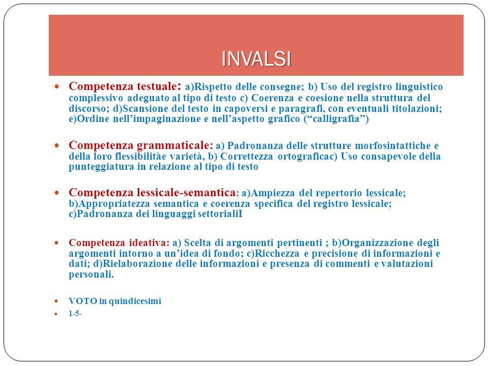 INVALSI Competenza testuale : a)Rispetto delle consegne; b) Uso del registro linguistico complessivo adeguato al tipo di testo c) Coerenza e coesione