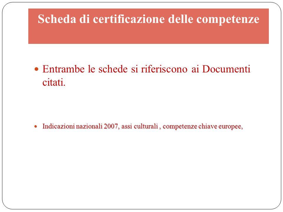 Scheda di certificazione delle competenze Entrambe le schede si riferiscono ai Documenti citati. Indicazioni nazionali 2007, assi culturali, competenz