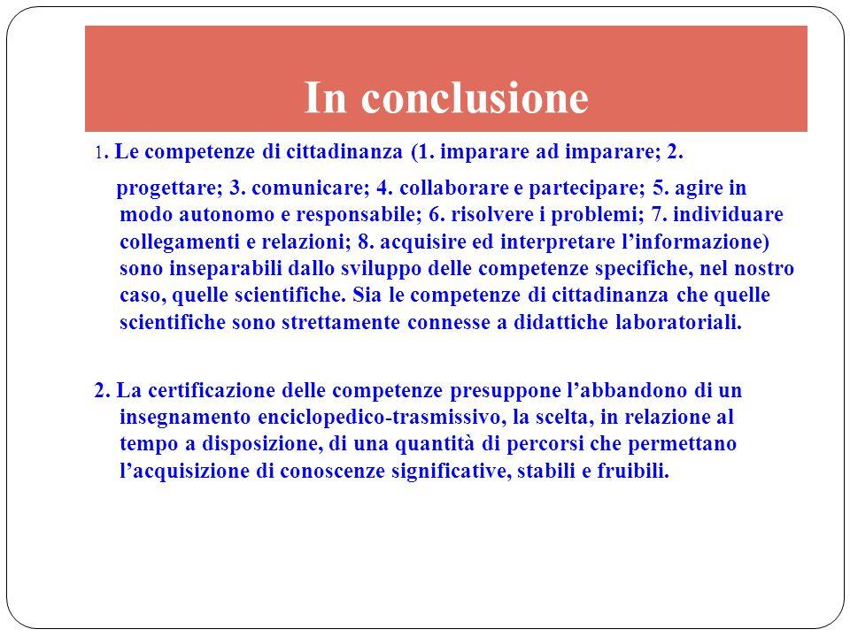 In conclusione 1. Le competenze di cittadinanza (1. imparare ad imparare; 2. progettare; 3. comunicare; 4. collaborare e partecipare; 5. agire in modo