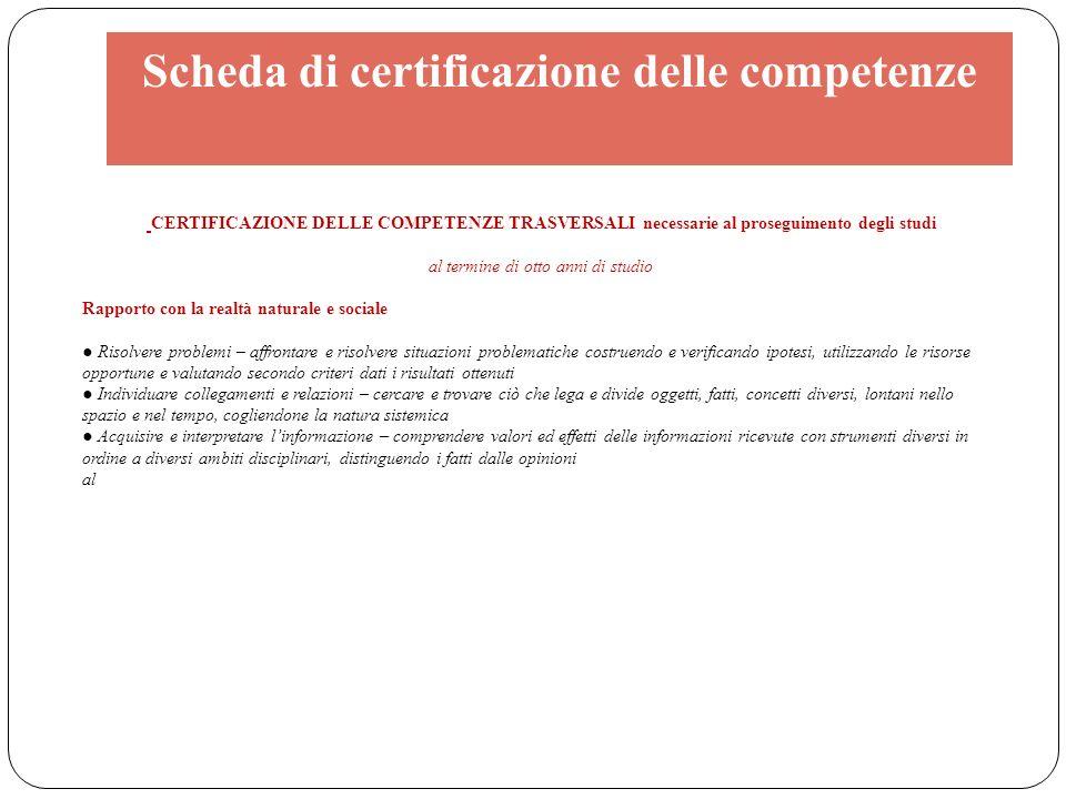 Scheda di certificazione delle competenze CERTIFICAZIONE DELLE COMPETENZE TRASVERSALI necessarie al proseguimento degli studi al termine di otto anni
