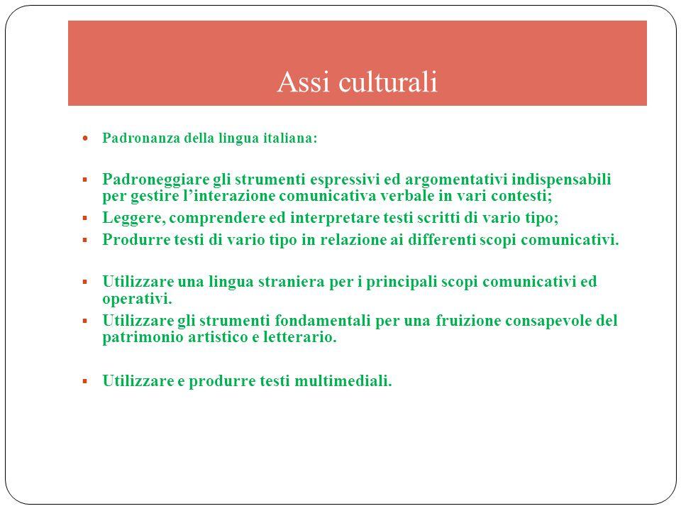 Assi culturali Padronanza della lingua italiana: Padroneggiare gli strumenti espressivi ed argomentativi indispensabili per gestire linterazione comun