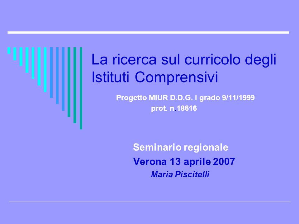 La ricerca sul curricolo degli Istituti Comprensivi Progetto MIUR D.D.G. I grado 9/11/1999 prot. n.18616 Seminario regionale Verona 13 aprile 2007 Mar