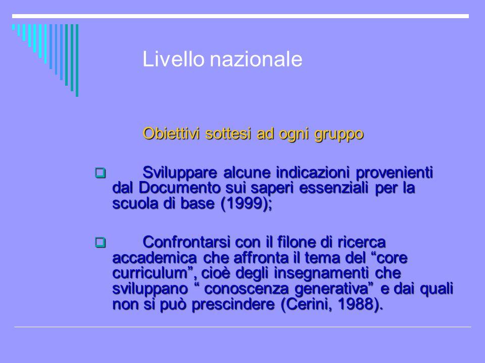 Livello nazionale Obiettivi sottesi ad ogni gruppo Sviluppare alcune indicazioni provenienti dal Documento sui saperi essenziali per la scuola di base