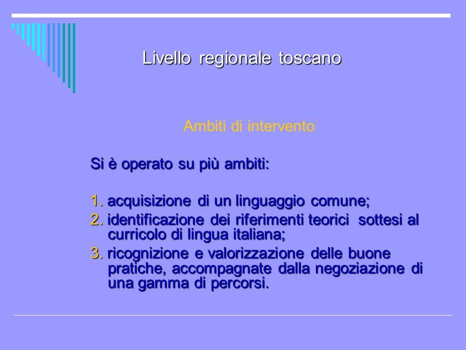 Livello regionale toscano Ambiti di intervento Si è operato su più ambiti: 1. acquisizione di un linguaggio comune; 2. identificazione dei riferimenti