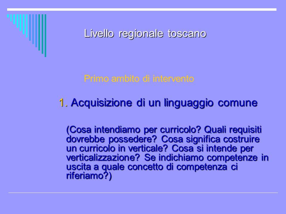 Livello regionale toscano Primo ambito di intervento 1. Acquisizione di un linguaggio comune 1. Acquisizione di un linguaggio comune (Cosa intendiamo