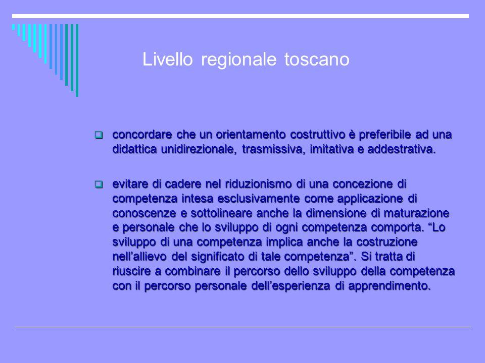 Livello regionale toscano concordare che un orientamento costruttivo è preferibile ad una didattica unidirezionale, trasmissiva, imitativa e addestrat