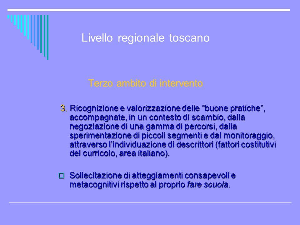 Livello regionale toscano Terzo ambito di intervento 3. Ricognizione e valorizzazione delle buone pratiche, accompagnate, in un contesto di scambio, d