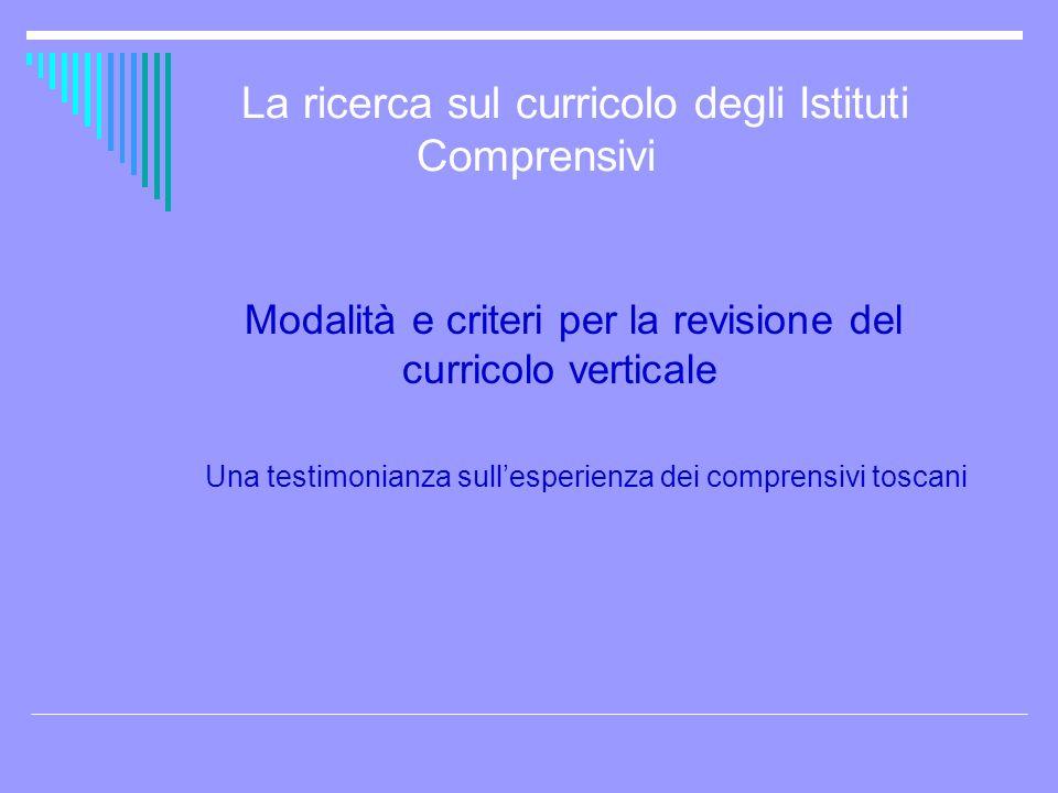 La ricerca sul curricolo degli Istituti Comprensivi Modalità e criteri per la revisione del curricolo verticale Una testimonianza sullesperienza dei c
