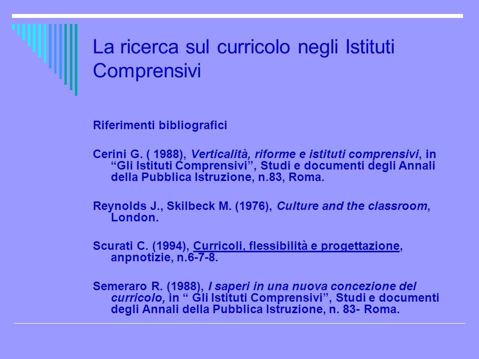La ricerca sul curricolo negli Istituti Comprensivi Riferimenti bibliografici Cerini G. ( 1988), Verticalità, riforme e istituti comprensivi, in Gli I