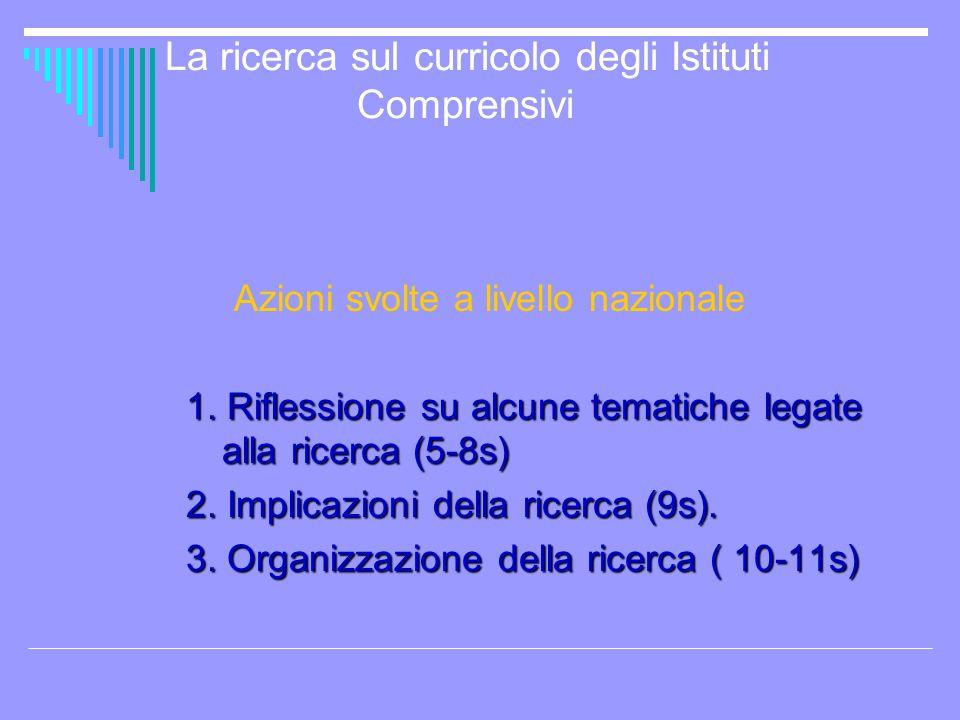 La ricerca sul curricolo degli Istituti Comprensivi Azioni svolte a livello nazionale 1. Riflessione su alcune tematiche legate alla ricerca (5-8s) 2.