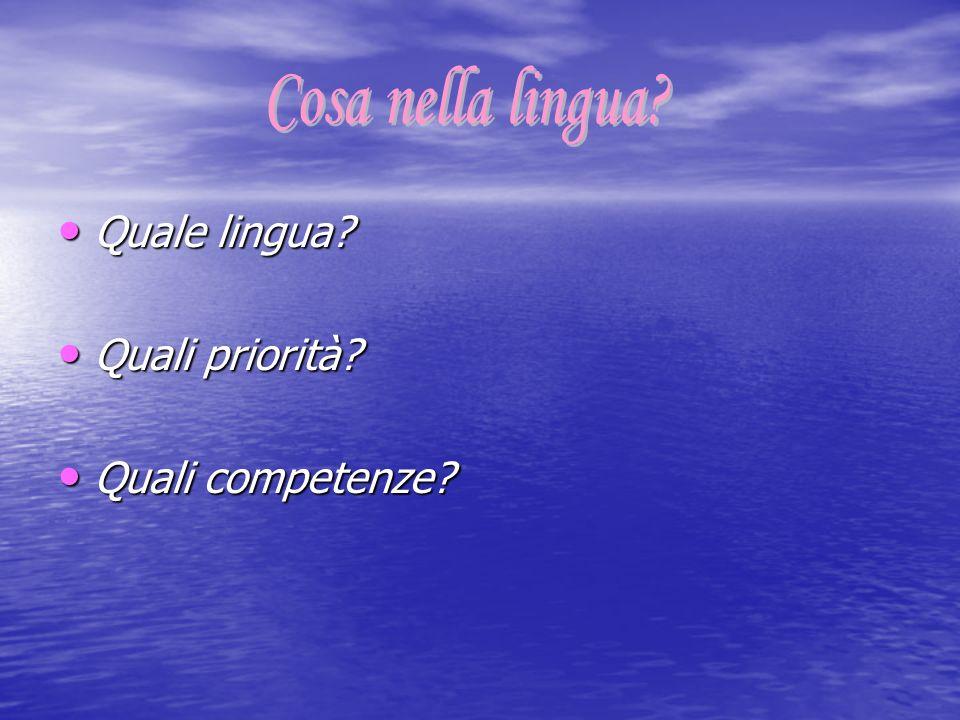 Quale lingua? Quale lingua? Quali priorità? Quali priorità? Quali competenze? Quali competenze?