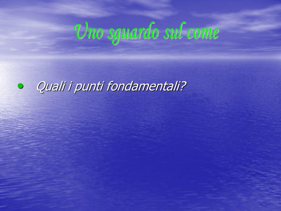 Quali i punti fondamentali? Quali i punti fondamentali?